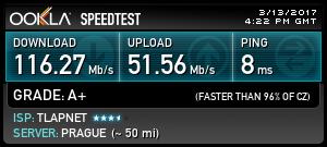 Speedtest internetového připojení v Hotelu Luna.